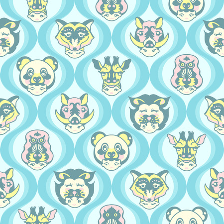 Vector Animal Headshots seamless pattern background. Perfect for fabric, scrapbook, wallpaper, and baby wear projects. It contains heads of fox, monkey, panda, giraffe, and boar.