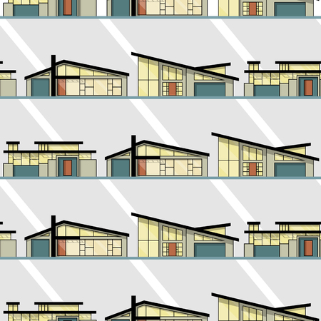 Vector Mid-Century Houses seamless pattern background. Perfect for fabric, scrapbook, wallpaper, and male wear projects. It contains three Mid-Century style houses. Ilustração