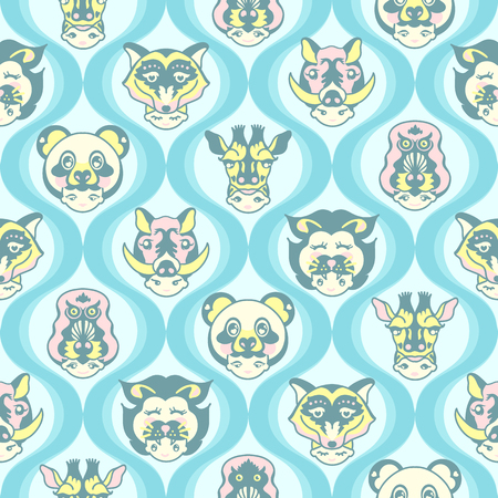 Animal Head Shots with Baby Teal Color Background