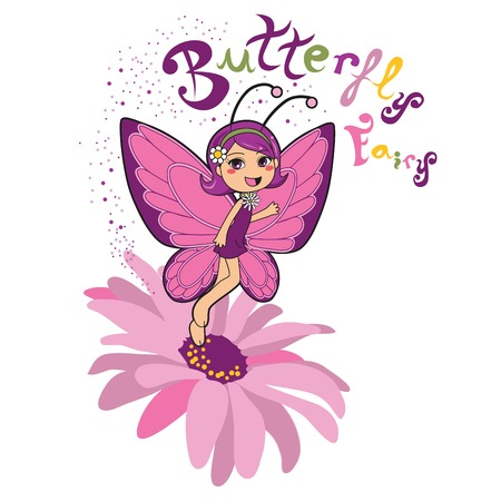 cartoon fairy: Butterfly fairy smiling on top of a pink daisy flower Illustration