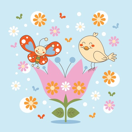Butterfly and Bird friends dancing happily in a flower
