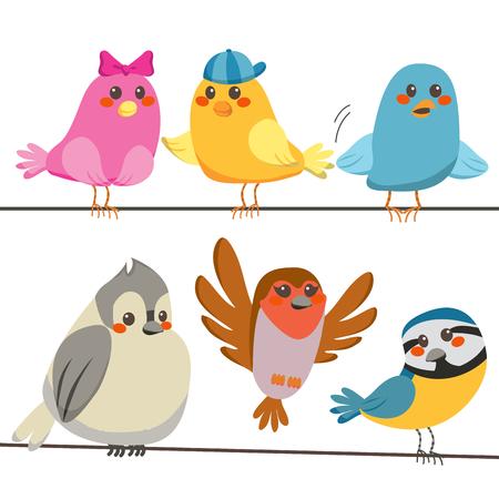 Seis de las aves de poco sexy y coloridas encaramado en las líneas de cable de alimentación  Ilustración de vector