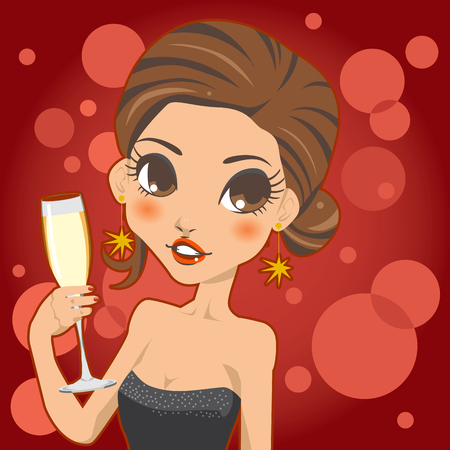 Woman holding a champagne cup for a toast on a glamorous night party Vector