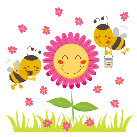 flowers cartoon: Two cute honey bees flying around a happy flower carrying a bucket Illustration