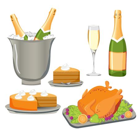 bollicine champagne: Set di deliziosi piatti e bevande per la celebrazione, di partito o di qualsiasi evento festivo
