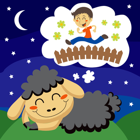 Black sheep counting children jumping over a fence to sleep Stock Vector - 8133387