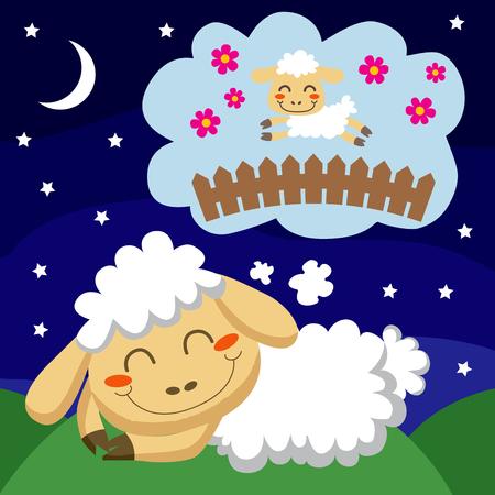sleep cartoon: White sheep counting sheep jumping over a fence to sleep Illustration