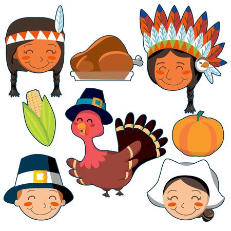 p�lerin: Ensemble des Am�rindiens, visages Pilgrim et �l�ments de Thanksgiving d�finie. Illustration