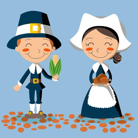 Pilgrim couple holding corn and turkey to celebrate Thanksgiving Day. Illustration