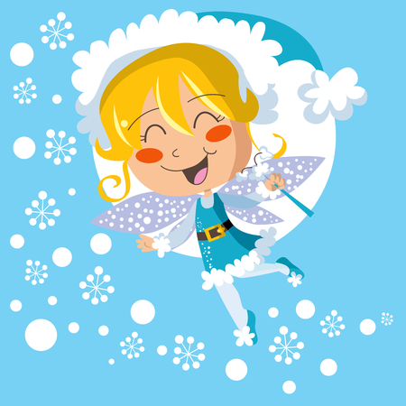 Happy winter fairy spreading joy snowflakes Vector