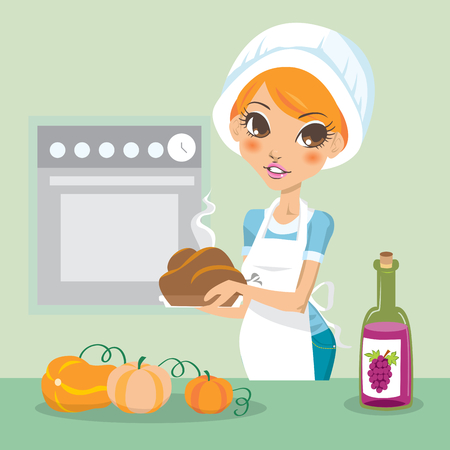 Young woman cooking turkey on thanksgiving Vector
