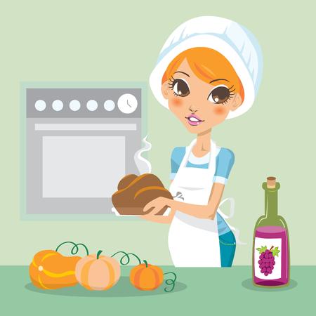 Joven cocina pavo de acción de gracias