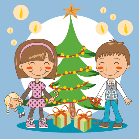 Boy and girl opening presents under christmas tree