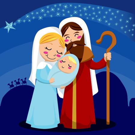 Jesus, Mary and Joseph under the shining star of Bethlehem Vector