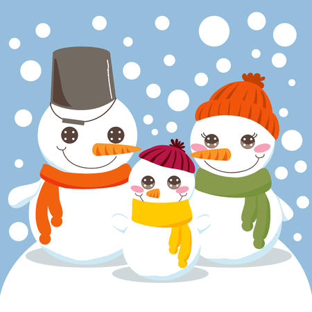 Snowman Family. Mum, dad and son smiling outdoors in winter while snow falls. Stock Vector - 8148963