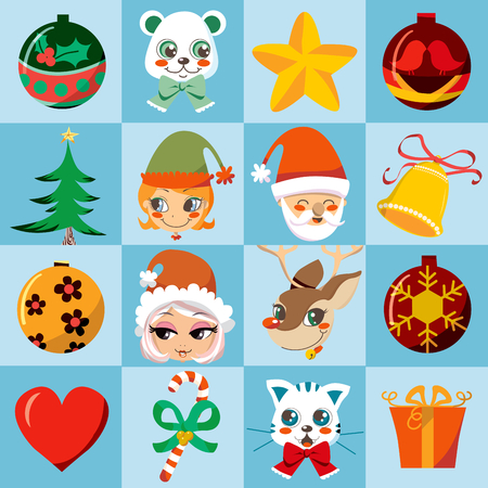 Many cute and colorful Christmas motifs icon set. Vector
