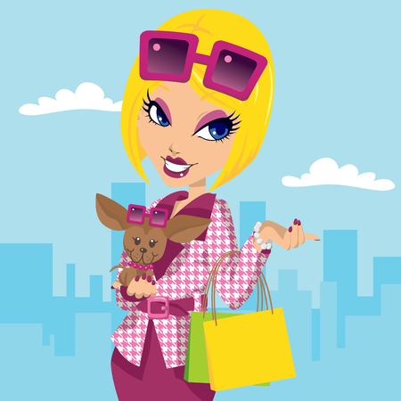 chihuahua dog: Blonde posh girl with chihuahua carrying shopping bags and wearing stylish pink fashion clothes Illustration