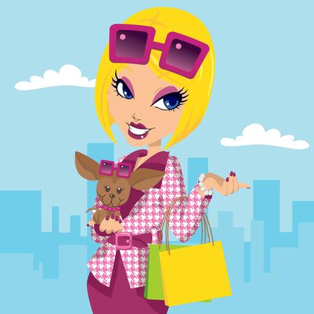 cane chihuahua: Ragazza bionda di posh con chihuahua che trasportano sacchetti e indossare abiti eleganti moda rosa