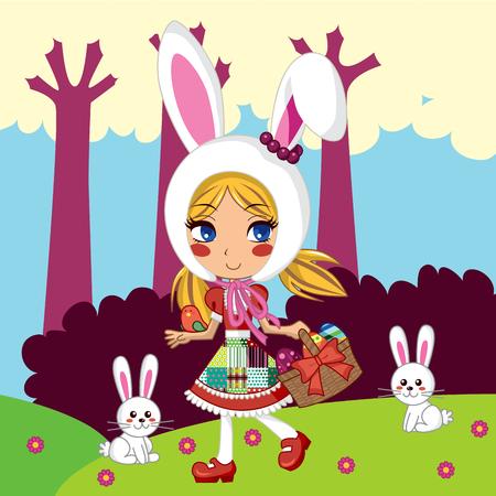 conejo caricatura: Dulce ni�a llevaba un sombrero de bunny y realizaci�n de huevos de Pascua en una cesta