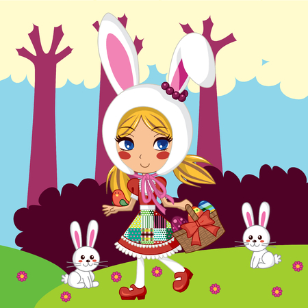 Sweet young girl wearing a bunny hat and carrying easter eggs in a basket Vector