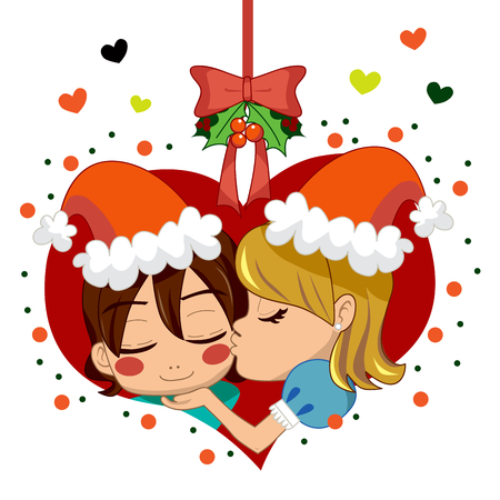 mistletoe: Girl kissing boy under mistletoe branch celebrating love in Christmas.
