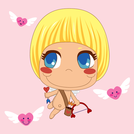 Little Cupid between flying hearts looking for love targets on Saint Valentines day holiday. Vector