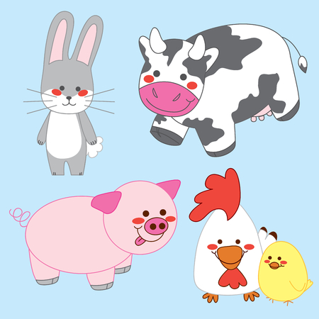 Bunny, Cow, Pig, Chicken and Chick. All living happy in the farm. Vector
