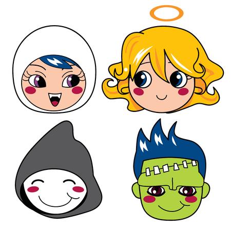 monster face: Set of four monster face masks for halloween Illustration