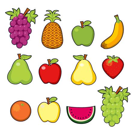 fruit cartoon: Set of twelve colorful juicy fruits