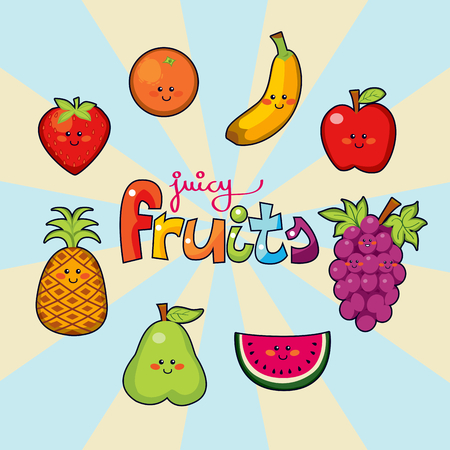 Happy face juicy fruits macedonia Vector