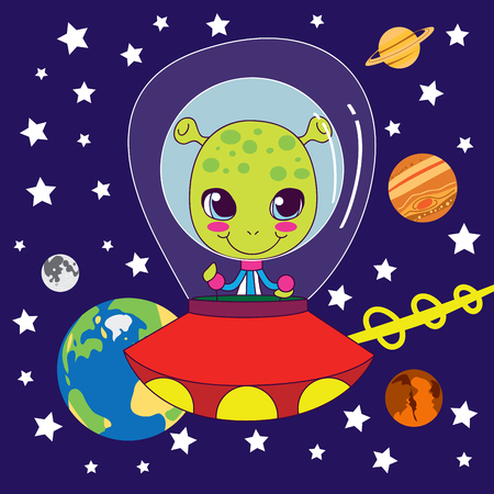 cartoon alien: Cute Alien flying on his fast space ship through our solar system