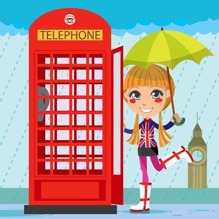 Jong meisje openen een rode telefoon cel in Londen in de regen