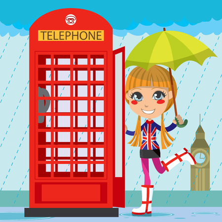 telephone booth: Young girl opening a red telephone booth in London under the rain