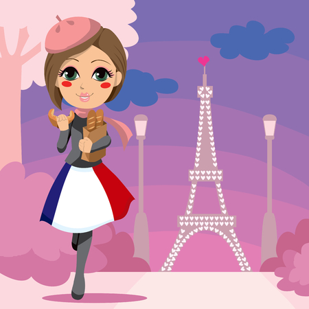 Cute girl walking with a bag of bread and eating croissant in Paris Stock Vector - 8376854