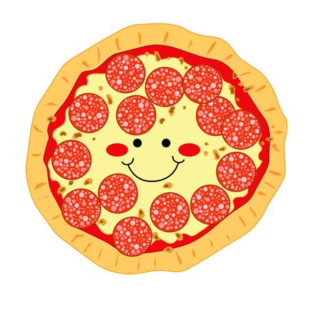 mozzarelle e formaggi: Felice sorridente pizza fatta di peperoni e mozzarella Vettoriali