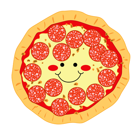 pepperoni: Happy smiling pizza made of pepperoni and mozzarella Illustration