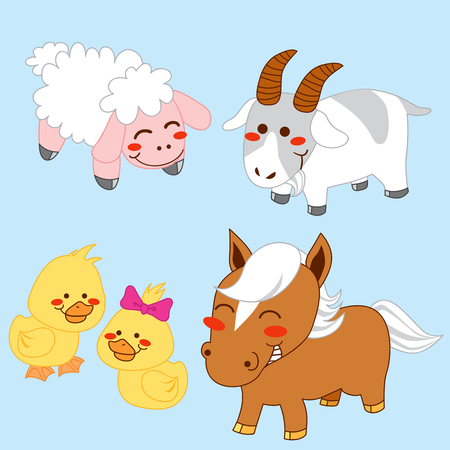 smiling goat: Collection of four happy farm animals isolated Illustration