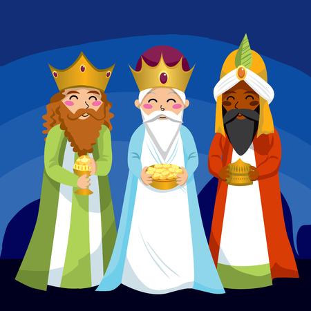 Drie wijzen brengen giften te Jezus op Kerst mis