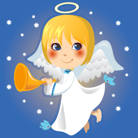 gabriel: Cute little angel Gabriel announcing with a trumpet the arrival of Christmas