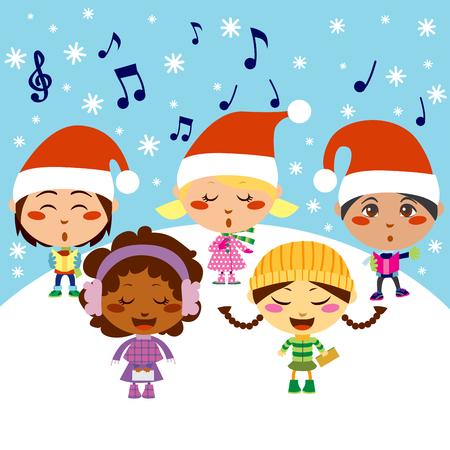 interracial: Cinco ni�os cantando villancicos de Navidad mientras cae nieve