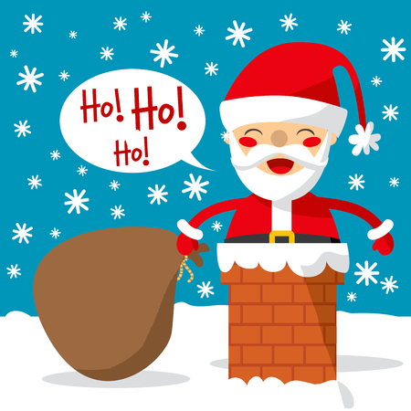 descend: Santa Claus entering through the Chimney with a huge bag of gifts and toys.