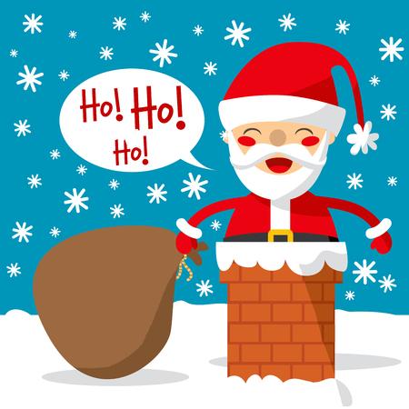 saint nicholas: Santa Claus entra a trav�s de la chimenea con una enorme bolsa de regalos y juguetes. Vectores
