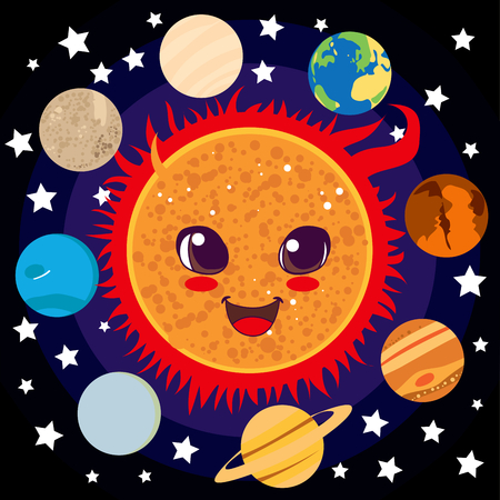 solar flare: Cute happy Sun with planet friends circling him