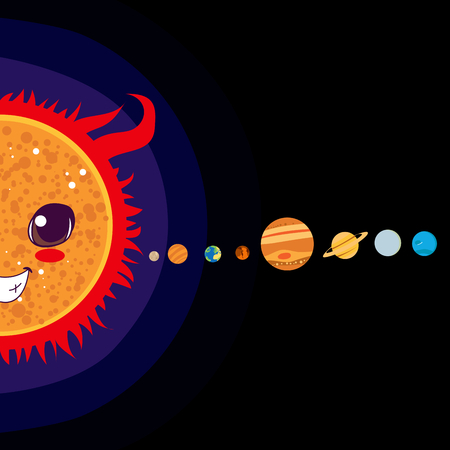 jupiter: Sun cartoon with Solar system planets sorted in line
