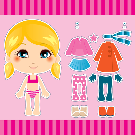clothes cartoon: Sweet et collection de v�tements mode blonde cute fille Illustration