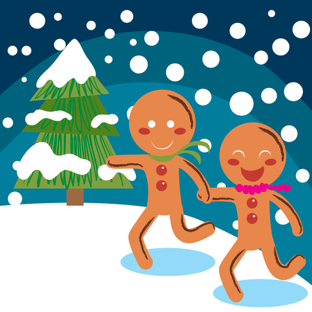 Sweet and tasty Gingerbread couple running on snow