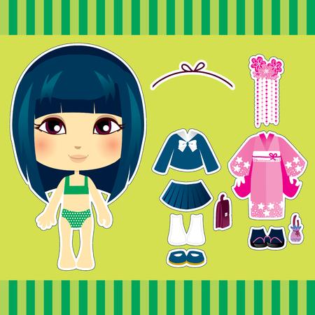 mu�ecas de papel: Conjunto de colecci�n de ropa de moda japonesa dulce y bonito chica