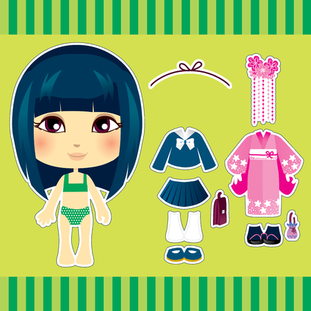 Sweet and cute japanese fashion girl clothes collection set Vector