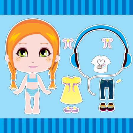 paper dolls: Sweet and cute red hair fashion girl clothes collection set Illustration