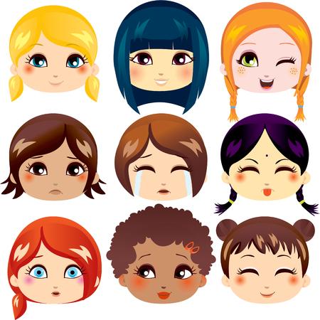 다양 한 인종 그룹에서 귀여운 여자의 9 얼굴 표정 세트 일러스트